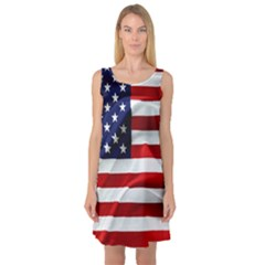 American Usa Flag Sleeveless Satin Nightdress by FunnyCow