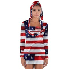 American Usa Flag Long Sleeve Hooded T Shirt by FunnyCow