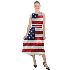 American Usa Flag Midi Tie Back Chiffon Dress by FunnyCow