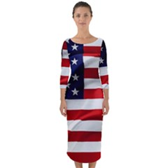 American Usa Flag Quarter Sleeve Midi Bodycon Dress by FunnyCow