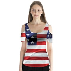 American Usa Flag Butterfly Sleeve Cutout Tee  by FunnyCow