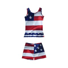 American Usa Flag Kid s Boyleg Swimsuit by FunnyCow