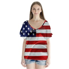 American Usa Flag V Neck Flutter Sleeve Top by FunnyCow