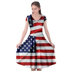 American Usa Flag Cap Sleeve Wrap Front Dress by FunnyCow