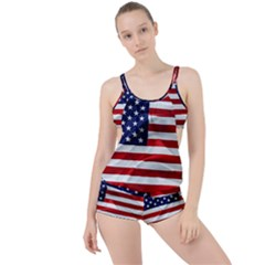 American Usa Flag Boyleg Tankini Set  by FunnyCow
