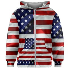 American Usa Flag Kids Zipper Hoodie Without Drawstring by FunnyCow