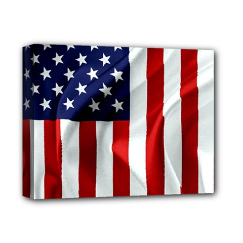 American Usa Flag Vertical Deluxe Canvas 14  X 11  by FunnyCow