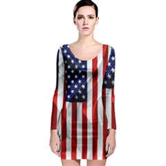 American Usa Flag Vertical Long Sleeve Bodycon Dress by FunnyCow