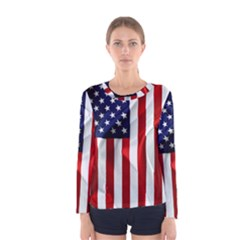 American Usa Flag Vertical Women s Long Sleeve Tee by FunnyCow