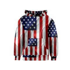 American Usa Flag Vertical Kids  Pullover Hoodie by FunnyCow