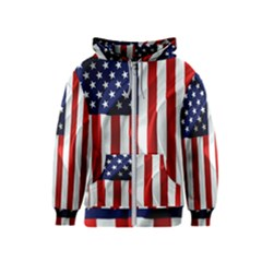American Usa Flag Vertical Kids  Zipper Hoodie by FunnyCow
