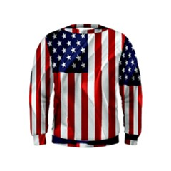 American Usa Flag Vertical Kids  Sweatshirt by FunnyCow