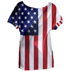 American Usa Flag Vertical Women s Oversized Tee by FunnyCow