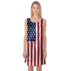 American Usa Flag Vertical Sleeveless Satin Nightdress by FunnyCow