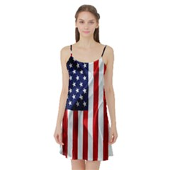 American Usa Flag Vertical Satin Night Slip by FunnyCow