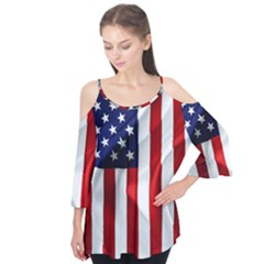 American Usa Flag Vertical Flutter Tees by FunnyCow