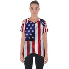 American Usa Flag Vertical Cut Out Side Drop Tee by FunnyCow