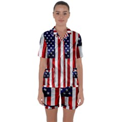 American Usa Flag Vertical Satin Short Sleeve Pyjamas Set by FunnyCow