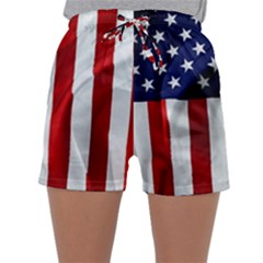 American Usa Flag Vertical Sleepwear Shorts by FunnyCow