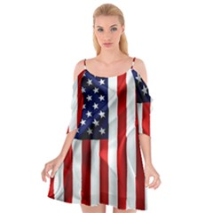 American Usa Flag Vertical Cutout Spaghetti Strap Chiffon Dress by FunnyCow