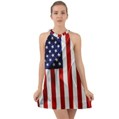 American Usa Flag Vertical Halter Tie Back Chiffon Dress by FunnyCow