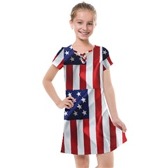 American Usa Flag Vertical Kids  Cross Web Dress by FunnyCow
