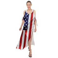 American Usa Flag Vertical Maxi Chiffon Cover Up Dress by FunnyCow