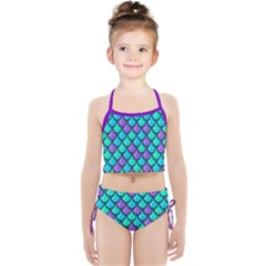 Blue Violet & Cyan Mermaid Fish Scale Print Girls  Tankini Swimsuit
