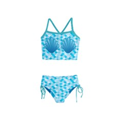 Turquoise Cute Seashells With Fish Scale Print Girls  Tankini Swimsuit