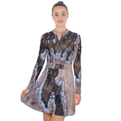 Earth Art Natural Texture Salt Of The Earth Long Sleeve Panel Dress