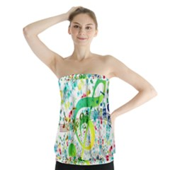Points Circle Music Pattern Strapless Top