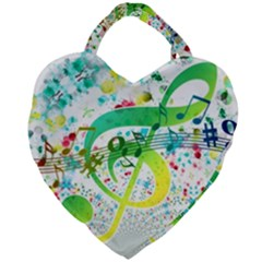 Points Circle Music Pattern Giant Heart Shaped Tote