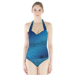 Blue Background Brush Particles Wave Halter Swimsuit