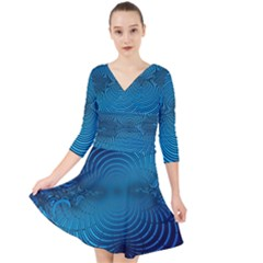 Blue Background Brush Particles Wave Quarter Sleeve Front Wrap Dress by Nexatart