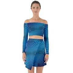 Blue Background Brush Particles Wave Off Shoulder Top With Skirt Set by Nexatart