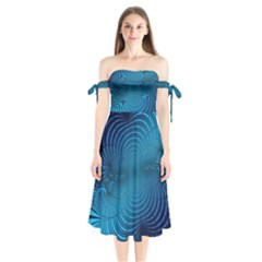 Blue Background Brush Particles Wave Shoulder Tie Bardot Midi Dress