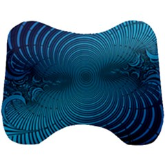 Blue Background Brush Particles Wave Head Support Cushion