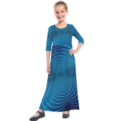 Blue Background Brush Particles Wave Kids  Quarter Sleeve Maxi Dress
