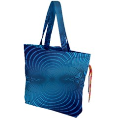 Blue Background Brush Particles Wave Drawstring Tote Bag by Nexatart