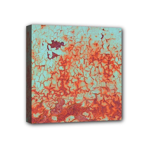 Orange Blue Rust Colorful Texture Mini Canvas 4  X 4  by Nexatart