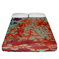 Orange Blue Rust Colorful Texture Fitted Sheet (king Size)