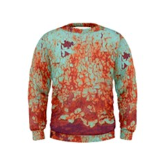 Orange Blue Rust Colorful Texture Kids  Sweatshirt
