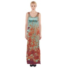 Orange Blue Rust Colorful Texture Maxi Thigh Split Dress by Nexatart