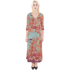 Orange Blue Rust Colorful Texture Quarter Sleeve Wrap Maxi Dress