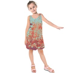Orange Blue Rust Colorful Texture Kids  Sleeveless Dress