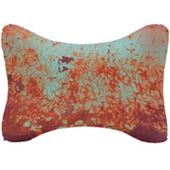 Orange Blue Rust Colorful Texture Seat Head Rest Cushion by Nexatart