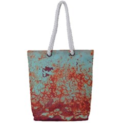 Orange Blue Rust Colorful Texture Full Print Rope Handle Tote (small)