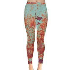 Orange Blue Rust Colorful Texture Inside Out Leggings by Nexatart