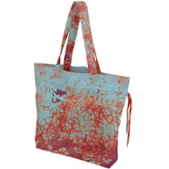 Orange Blue Rust Colorful Texture Drawstring Tote Bag by Nexatart