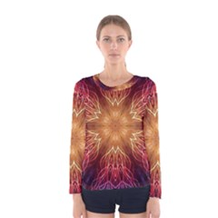 Fractal Abstract Artistic Women s Long Sleeve Tee